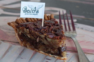 saints chocolate bourbon pecan pie 400x600